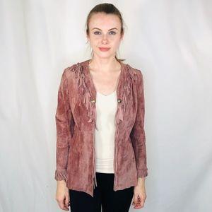 Vintage Seven Beauties Lilac Suede Fringe Jacket S